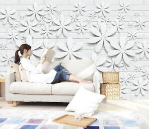 3d White Flowers 829 Wallpaper Mural Paper Wall Print Wallpaper