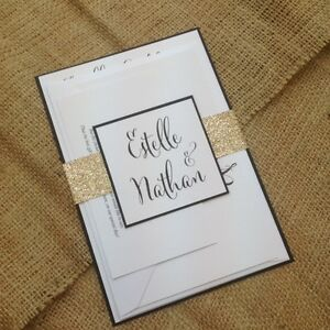 1 X White Black Estelle Wedding Invitation Sample Gold Silver