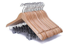 20 Pack Solid Natural Finish Wooden Suit Hangers with Anti-rust Pant Clips