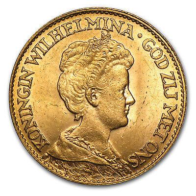 Netherlands 10 Gulden Gold Coin - Random Year - SKU #24015