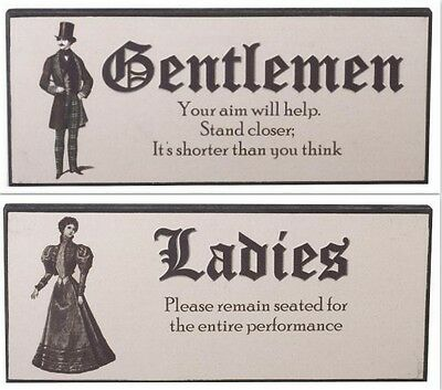 Vintage Retro Wooden Home Wall Decor Toilet Door Sign Plaque - Ladies Gentlemen