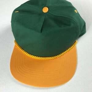 Green Yellow Double Snapback Hat VTG Cap Packers Ducks Colors Oregon Green Bay