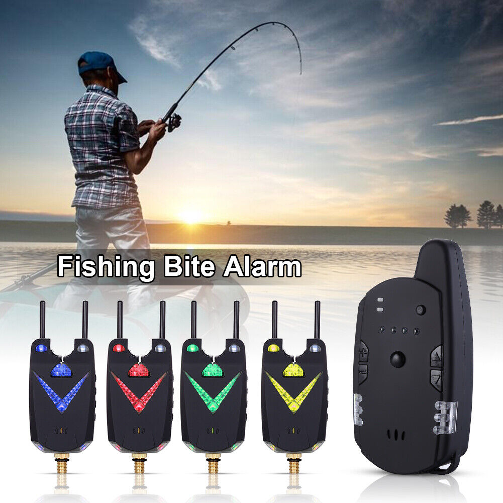 Wireless Digital Fishing Alarm 4 Fishing Bite Alarm 1 Receiver 6 LED With Case