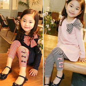 2Pcs Toddler Kids Girls Outfits Bow Long Sleeve Tops + Stripe Pants Clothes Set