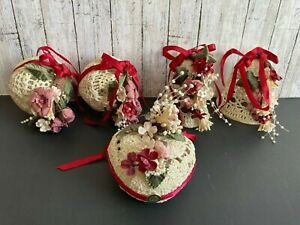 5-Vtg-Stiffened-Crochet-Balls-Bells-Heart-Christmas-Tree-Ornament-Handmade