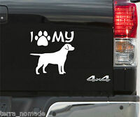 'I Love/Heart Labradors' Novelty Paw Car Sticker Ideal for Dog Owner Funny Decal