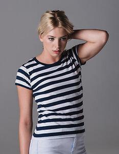 Damen-T-Shirt-Gestreift-Kurzarm-Baumwolle-Ringelshirt-Streifen-Shirt-S-XL