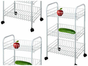 Image Is Loading 4 Wheel 3 Tier Kitchen Trolley Vegetable Rack