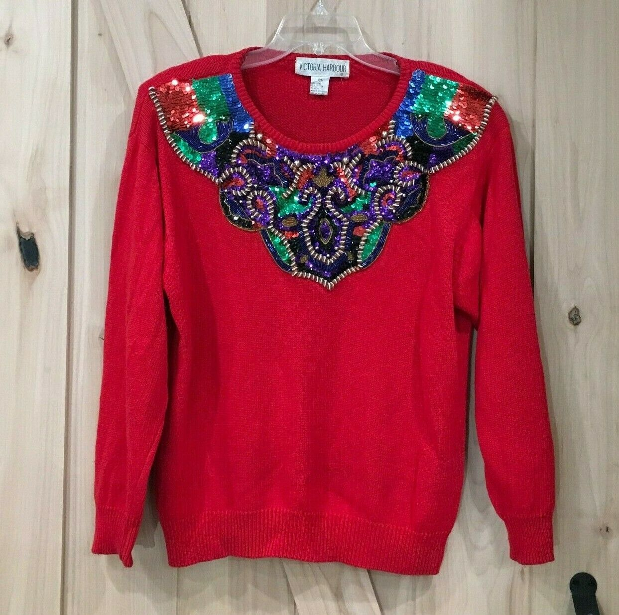Vintage 80/'s Victoria Harbour Blue Beaded Sequin Tassel Sweater Medium