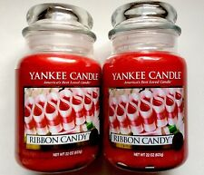 YANKEE CANDLE RIBBON CANDY LOT of 2- 22 oz. JARS NEW FREE SHIPPING