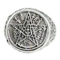 Large Sterling Silver Tetragrammaton Ceremonial Magic Ring Wiccan Pagan Sz 4-15