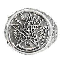 Large Sterling Silver Tetragrammaton Ceremonial Magic Ring Wiccan Pagan Sz 4-15