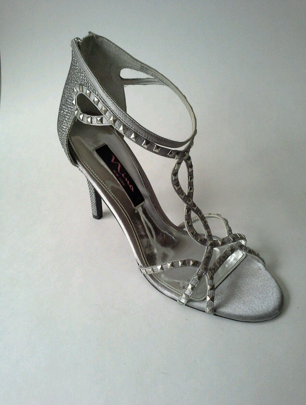 Nina Ciprina Dress Heeled Sandal Sliver Studded Studded Studded Straps Open -Toe Size 8  Satin 89800f