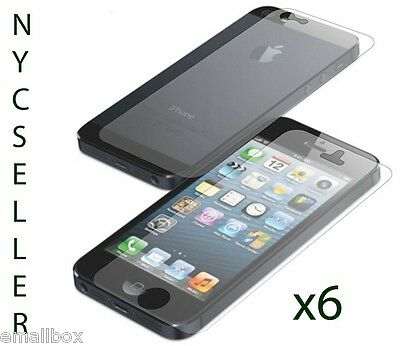 6 Front + 6 Back = 12 ULTRA CLEAR HD Screen Protector Film for Apple iPhone 5 5S