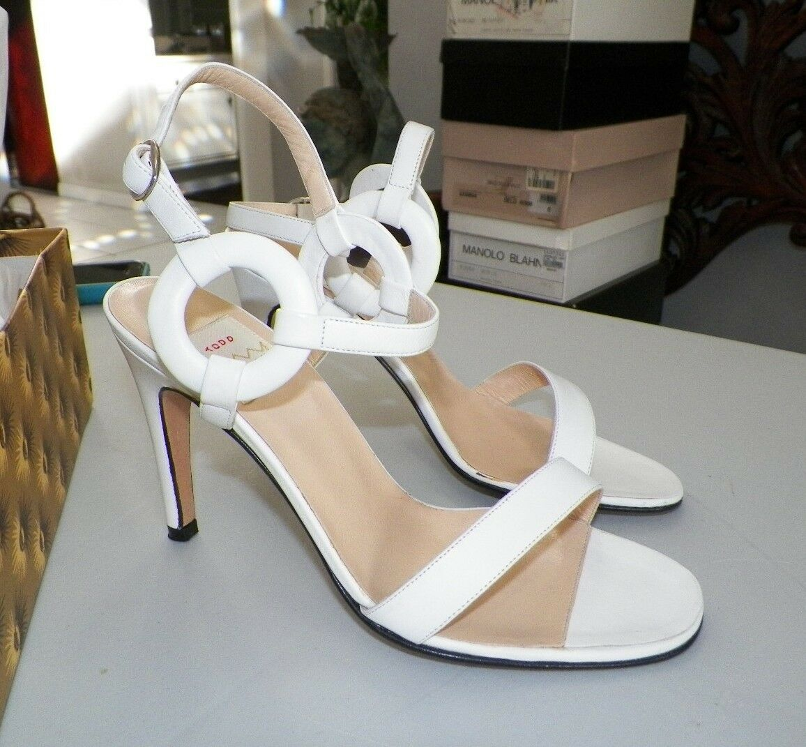 WOMEN'S TODD OLDHAM BY LERRE WHITE LEATHER STRAPPY HEELS SIZE 36 NEVER WORN