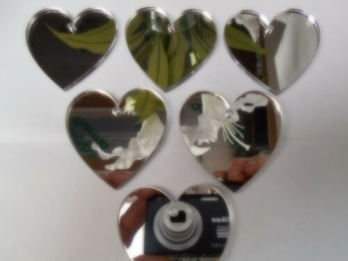 Heart Shaped Acrylic silver Mirror Embellishments 3mm thick with hole,10 x 5cm