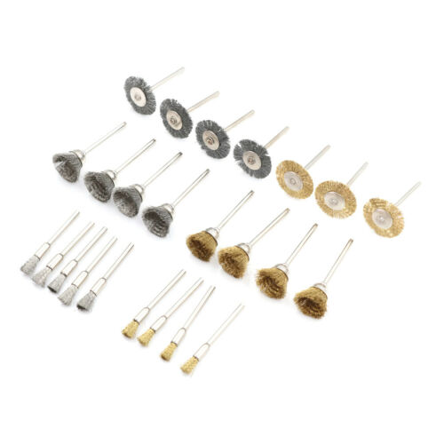 27pcs Brass Brush Wire Wheel Brushes Die Grinder Rotary Electric Polishing T E#W