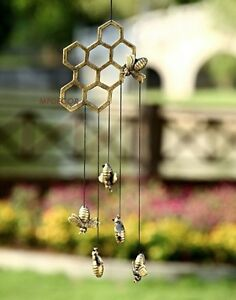 Bumble Bee Honeycomb Wind Chime Hive Metal Garden Art Honey Bees Windchime