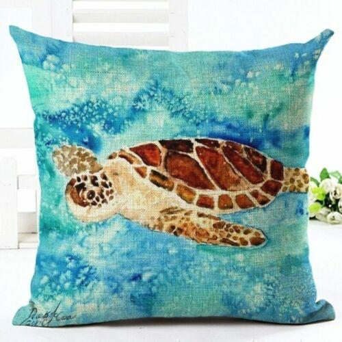 Bed Home Sofa Case Sea Pillow Cushion Car Cotton 18/'/' Linen Waist Creature Cover
