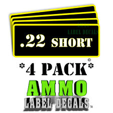 ".22 Short Ammo Label Decals Ammunition Case 3"" x 1"" Can stickers 4 PACK -YWbkRD"