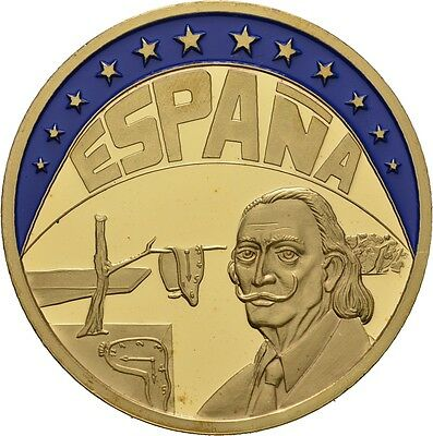 Discreet Europe Ecu Series Spain EspaÑa Gilded Proof Like Gilt Medal 1994 #me259 Exonumia Medals