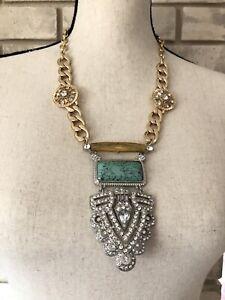 Details about BaubleBar Necklace ART DECO Style Long Rhinestone Resin  Chunky Bib Pendant