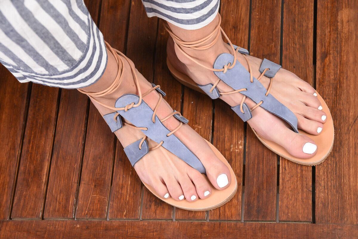 ANCIENT GREEK Style Gladiateur Lacets Sandales en cuir en cuir bleu fait main