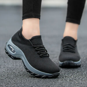 Womens-Sneakers-Slip-On-Air-Cushion-Mesh-Knitted-Breathable-Casual-Walking-Shoes