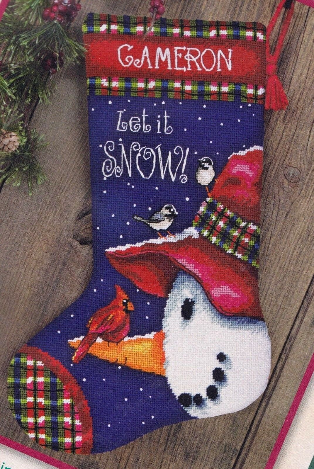 Dimensions Patterned Snowman Christmas Snow Yarn Needlepoint Stocking Kit 09155