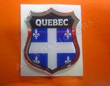 3D Emblem Sticker Resin Domed Flag Quebec - Adhesive Decal Vinyl
