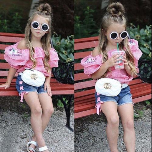 Canis Newborn Kid Baby Girls Flower Tops T-shirt Denim Pants Shorts Outfits Set