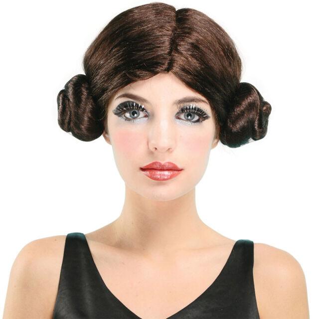 Star Wars Prinzessin Leia Braun Buns Erwachsene Damen Kostüm Perücke