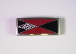 Art-Deco-Guertelschliesse-20er-Jahre-Emaille-amp-Versilbert-5