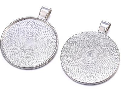 4 Fassungen rund für 25 mm Cabochons Silberfarben Medaillons Anhänger BEST M511