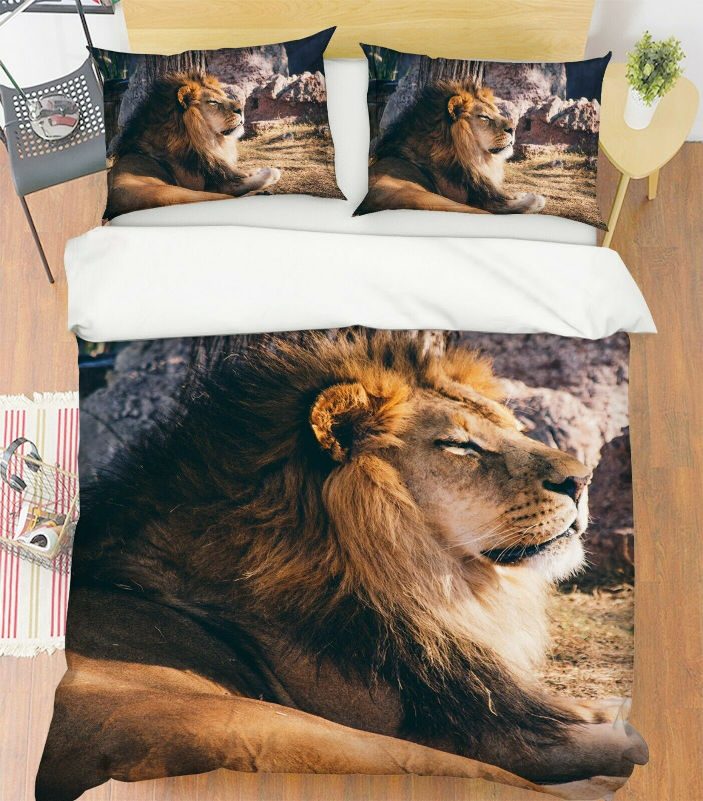 3D Lion I68 Animal Bed Pillowcases Quilt Duvet Cover Queen King Angelia