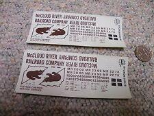 Herald King decals HO B-1000  McCloud River Railroad dk red box  2 sheets  XX223