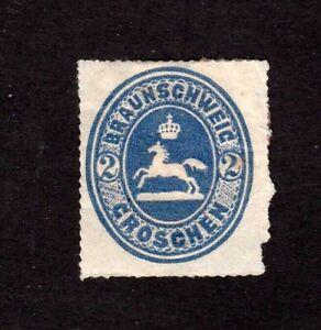 Brunswick stamp #25, MHOG, some paper on back, German State, 1865