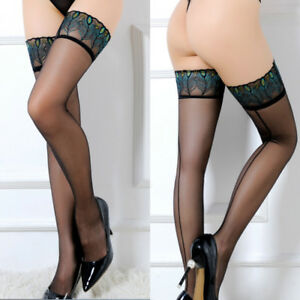8b6d0d7093641 Women Sexy Sheer Lace Top Stay Up Stockings Thigh High Long Socks ...