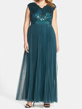 Adrianna Papell New Plus Sequin Bodice Pleat Tulle Gown Sz 16W MSRP $299 #HN 491