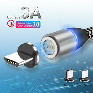 USLION-3A-Magnetic-USB-Type-C-Micro-Fast-Data-Sync-Charging-Charger-Phone-Cable