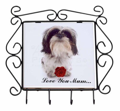 Shih Tzu with Rose /'Love You Mum/' Wrought Iron Key Holder Hooks Ch AD-SZ3RlymKH