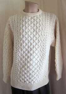 SWEATERS-OF-IRELAND-Men-039-s-Vintage-Ivory-Aran-Fisherman-Sweater-S-Small