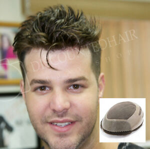Mens Toupee Hair Replacement System Skin Front Mono