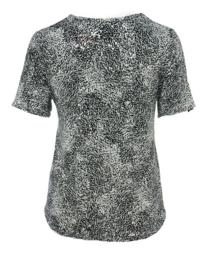 Womens New Party T shirt Top Sparkly Silver Polka Black White Short Sleeve Bnwt