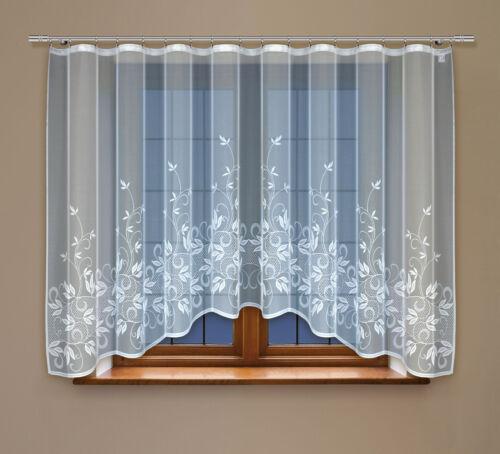 Gardine mit Kräuselband Vorhang Fertiggardine aus Jacquard mit florales Motiv