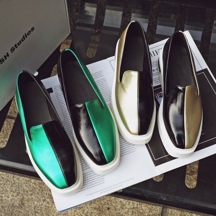 Women's Color matching SquareToe Platform Shoes Casual Loafers Plus Size Glitter