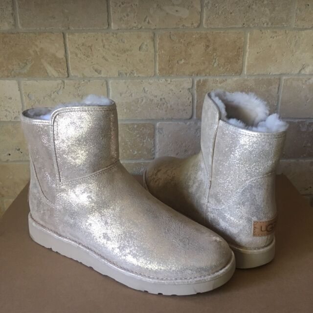 2d16a9824 UGG ABREE MINI STARDUST GOLD METALLIC SUEDE FUR ZIP BOOTS SIZE US 8 WOMENS