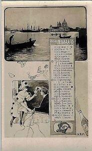 Calendario-Mese-Febbraio-1904-PC-Belle-Epoque-Fotomontaggio-Zodiacali-Venezia