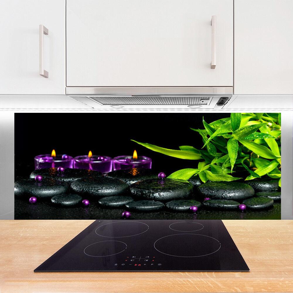 Crédence de cuisine en verre verre verre Panneau 125x50 Art Bougie Pierres Feuilles 4257eb