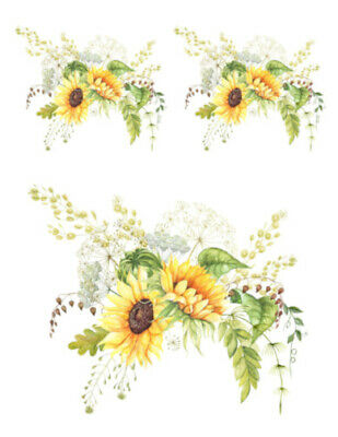 VinTaGe IMaGe BriGht YeLLoW SunFLoWeRs ShaBby WaTerSLiDe DeCALs